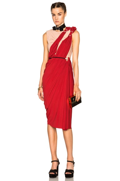 Lanvin Drape Dress in Carmine Red
