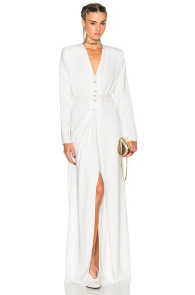 Lanvin V Neck Long Sleeve Gown in Ecru