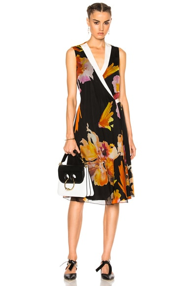 Lanvin Floral Wrap Dress in Orchid