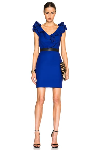 Lanvin Ruffle Sleeve Mini Dress in Royal Blue