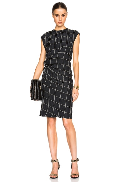 Lanvin Viscose Windowpane Print Dress in Black