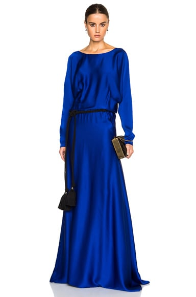 Lanvin Long Sleeve Viscose Gown in Royal Blue