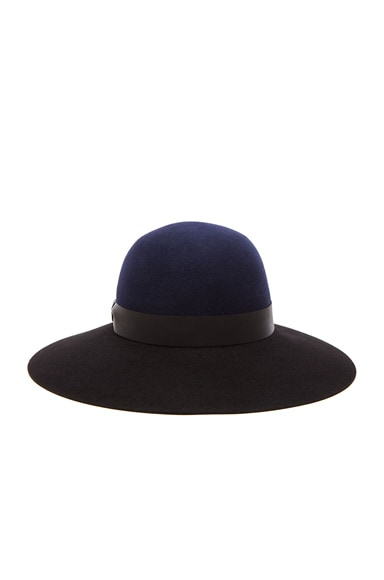 Lanvin Bi Color Capeline Hat in Navy Blue