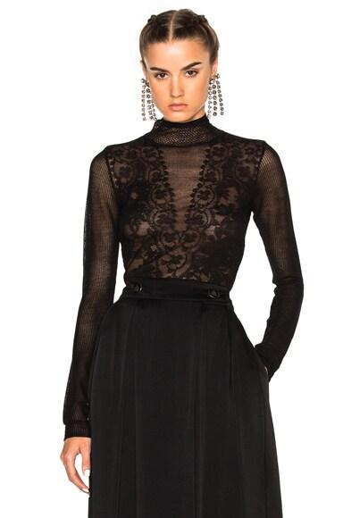 Lanvin Lace Detail Top in Black