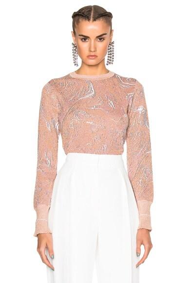 Lanvin Print Metallic Knit Top in Blush