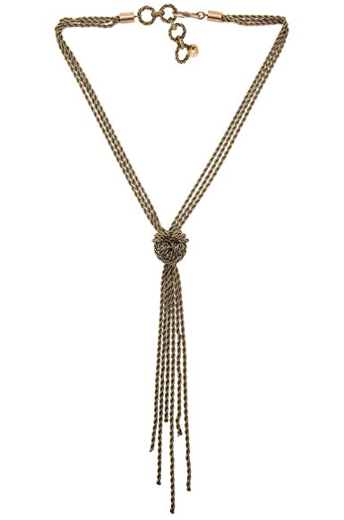Lanvin Pendant Necklace with Bows in Gold