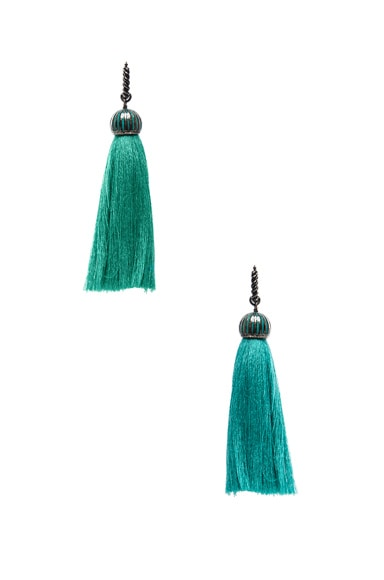 Lanvin Tassel Earrings in Green & Blue