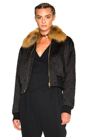 Lanvin Fur Collar Bomber Jacket in Black