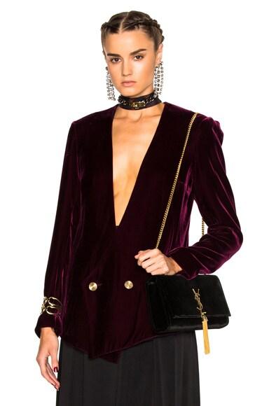 Lanvin Velvet Blazer Jacket in Aubergine