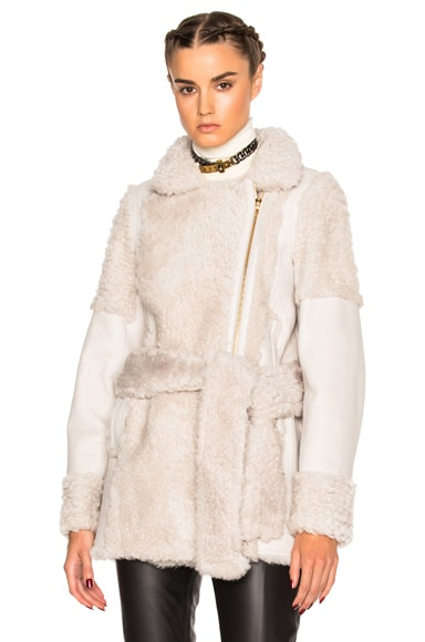 Lanvin Belted Shearling Jacket in Majestic