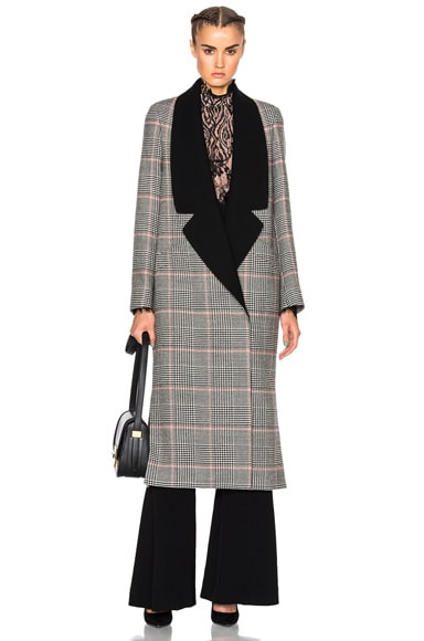 Lanvin Plaid Wool Coat in Coral