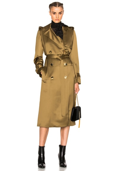 Lanvin Wool Viscose Trench Coat in Light Khaki
