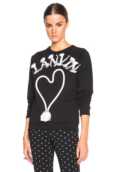 Lanvin Logo Embroidered Sweatshirt in Black