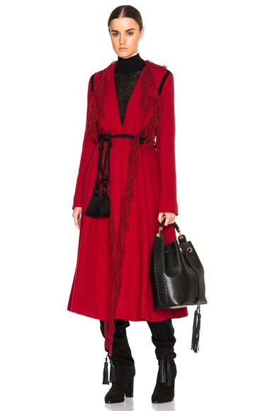 Lanvin Fringe Edge Coat in Red