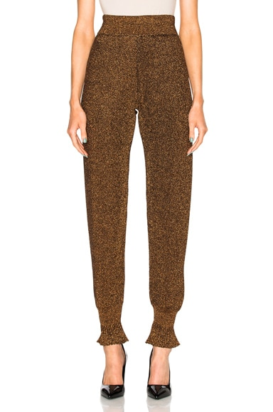 Lanvin Metallic Knit Trousers in Brass