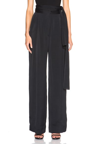 Lanvin Wide Leg Trousers with Tie Waist in Black