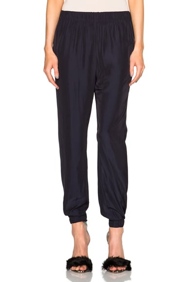 Lanvin Satin Trousers in Midnight Blue