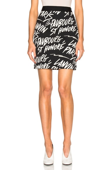 Lanvin Paris Print Skirt in Black