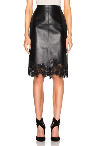Lanvin Embroidered Leather Skirt in Black