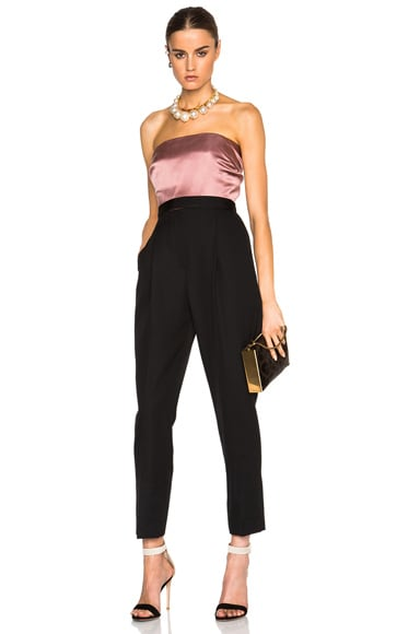 Lanvin Satin Top Strapless Jumpsuit in Black & Pink
