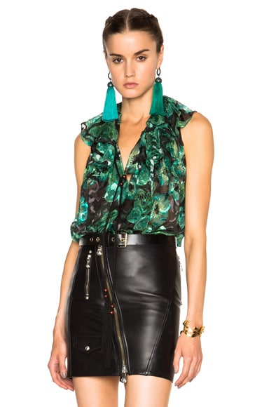 Lanvin Devore Leopard Top in Emerald