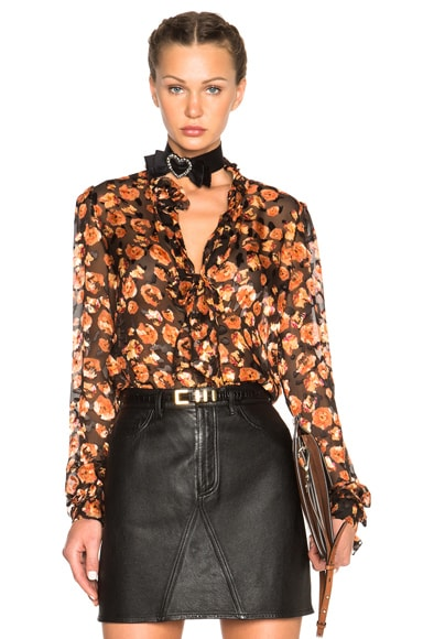 Lanvin Devore Leopard Ruffle Blouse in Powder