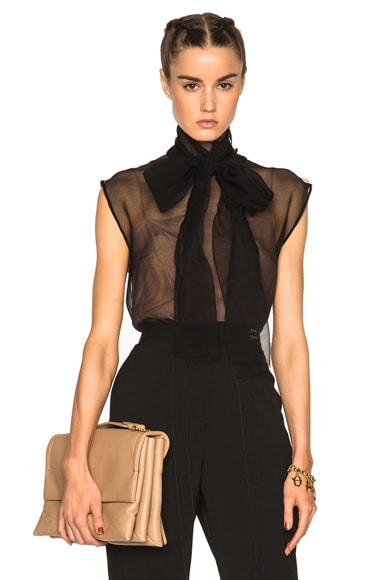 Lanvin Bow Neck Blouse in Black