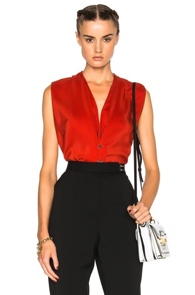 Lanvin Silk V Neck Blouse in Dark Orange