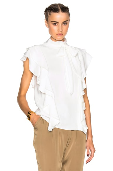 Lanvin Sleeveless Ruffle Top in Ecru