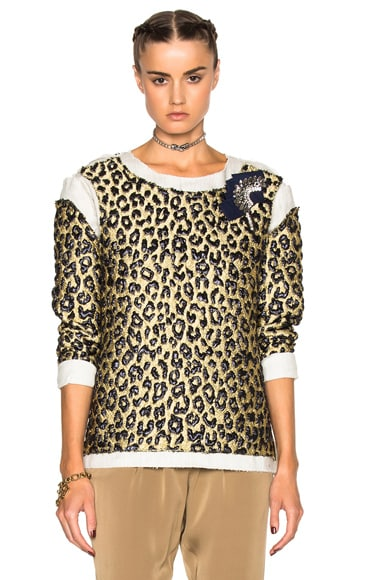 Lanvin Leopard Print Long Sleeve Top in Pale Gold