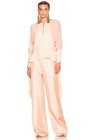Lanvin Silk Woven Top in Blush