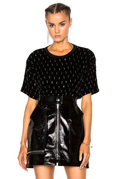 Lanvin Velvet Embroidered Top in Black
