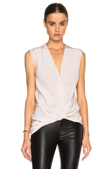 Lanvin Cross Drape V Neck Silk Blouse in Chalk