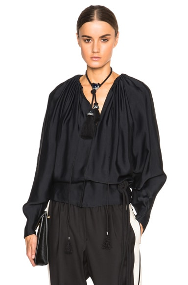 Lanvin Silk Woven Blouse in Black