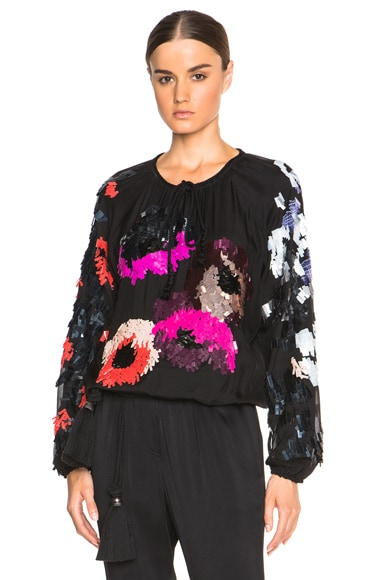 Lanvin Embroidered Jersey Blouse in Black