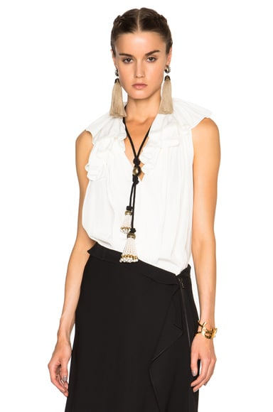 Lanvin Sleeveless Ruffle Blouse in Ivory