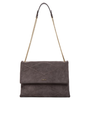 Lanvin Medium Velvet Calfskin Sugar Bag in Anthracite