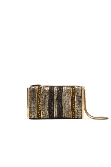 Lanvin Brocade Private Clutch in Gold