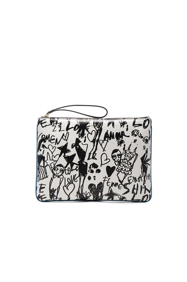 Lanvin Large Silhouette Print Pouch in Black & White