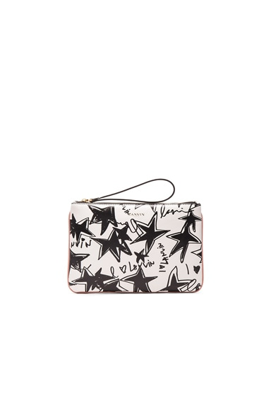 Lanvin Large Stars Print Pouch in Black & White