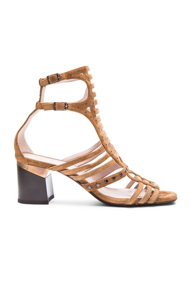 Lanvin Multi Strap Studded Sandals in Camel