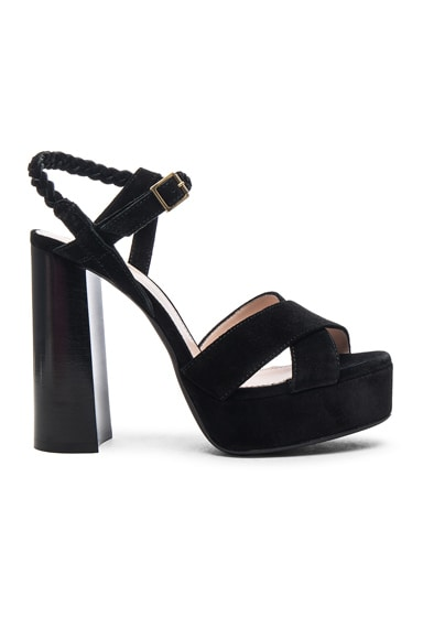 Lanvin Suede Platform Sandals in Black