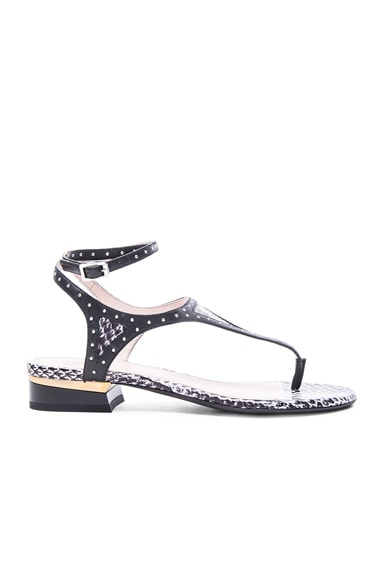 Lanvin Studded Flat Sandals in Black & White