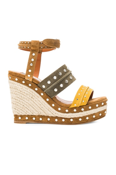 Lanvin Studded Suede Wedge Sandals in Yellow
