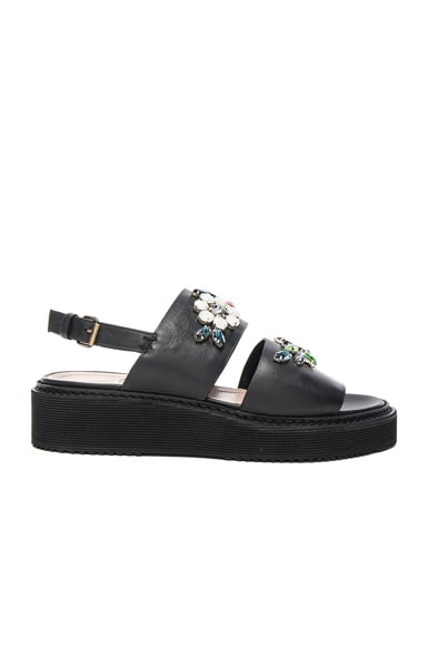 Lanvin Embroidered Leather Flat Sandals in Black