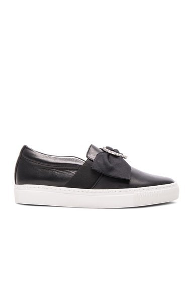 Lanvin Bow & Heart Leather Slip On Sneakers in Black