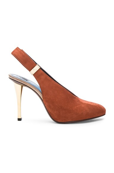 Lanvin Safe Lock Slingback Suede Pumps in Chestnut