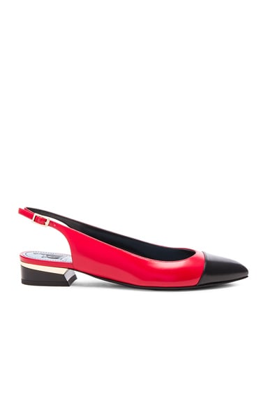 Lanvin Sling Back Lambskin Ballerina Flats in Black & Red