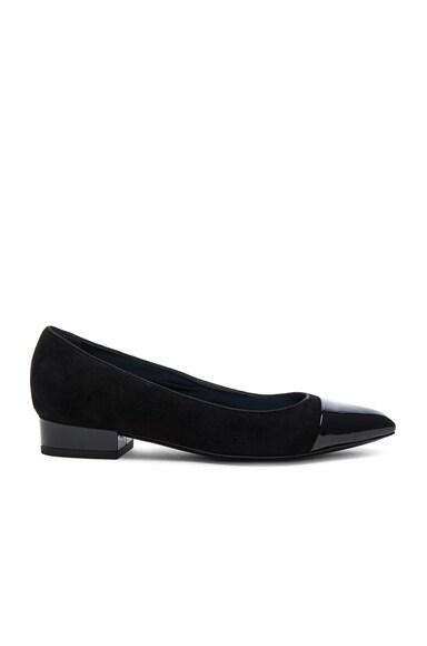 Lanvin Suede Pointy Ballerina Flats in Black