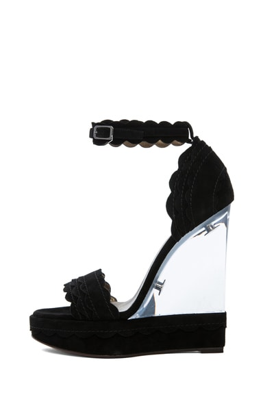 Leather Scalloped Strapped Lucite Heel
